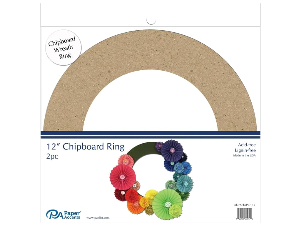 Paper Accents Chipboard Shape  2 pc.12 in. Wreath Natural