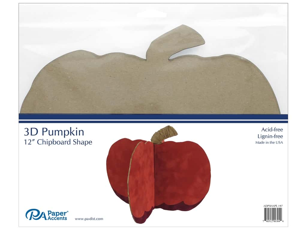 Paper Accents Chipboard Shape 1 pc. 12 in. 3D Pumpkin Natural