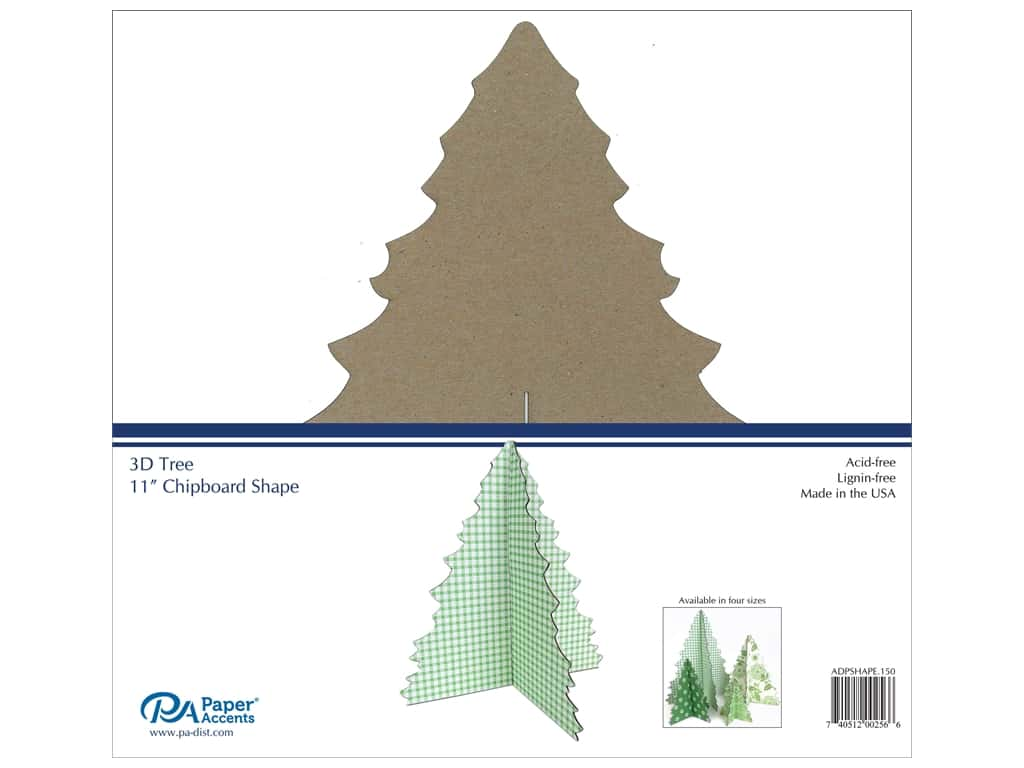 Paper Accents Chipboard Shape 1 pc. 11 in. 3D Tree Natural