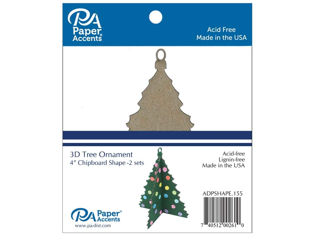 Paper Accents Chipboard Shape 2 pc. 4 in. 3D Ornament Tree Natural