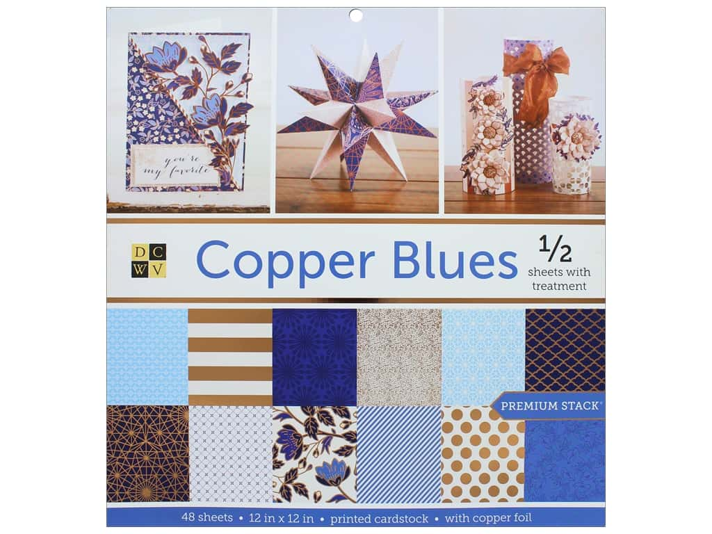 Die Cuts with a View 12 x 12 in. Paper Stack Copper Blues