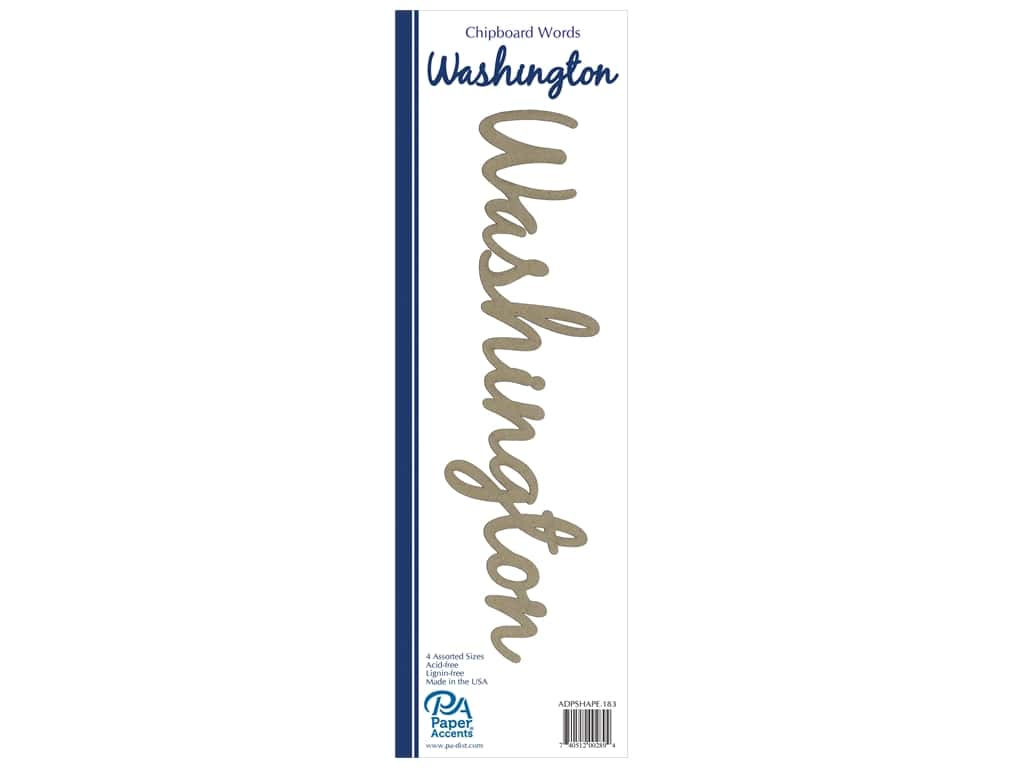 Paper Accents Chipboard Word 4 pc. Washington Natural