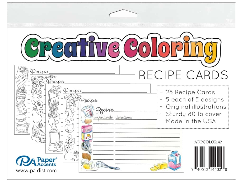 Paper Accents Creative Coloring Recipe Cards 25 pc.