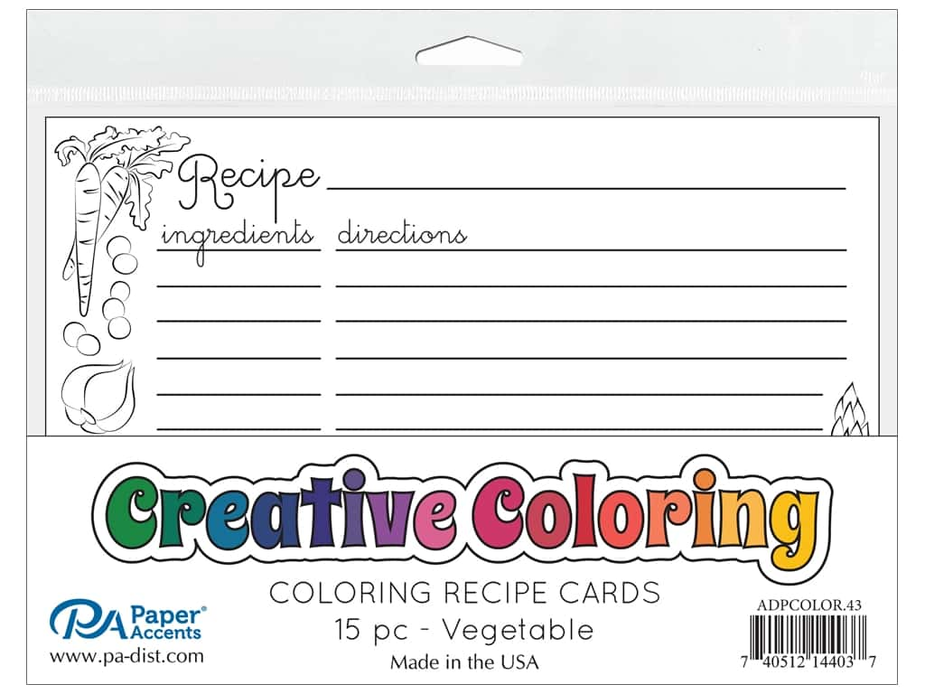 Paper Accents Creative Coloring Recipe Cards 15 pc. Vegetable