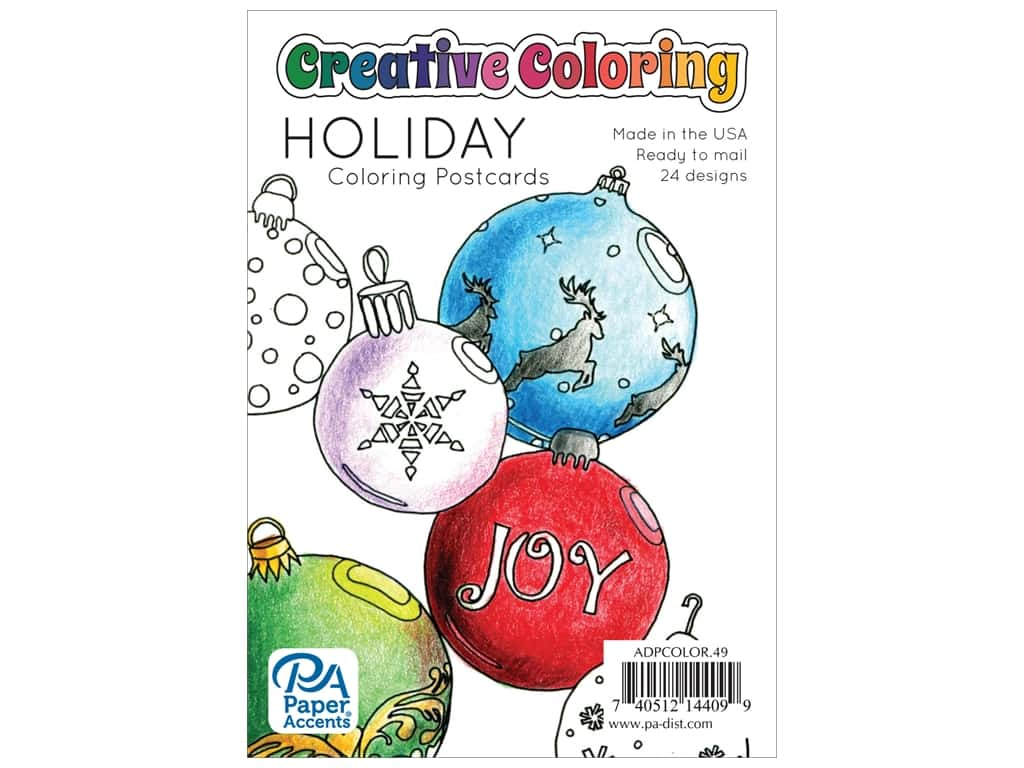 Paper Accents Creative Coloring Postcards 24 pc. Holiday
