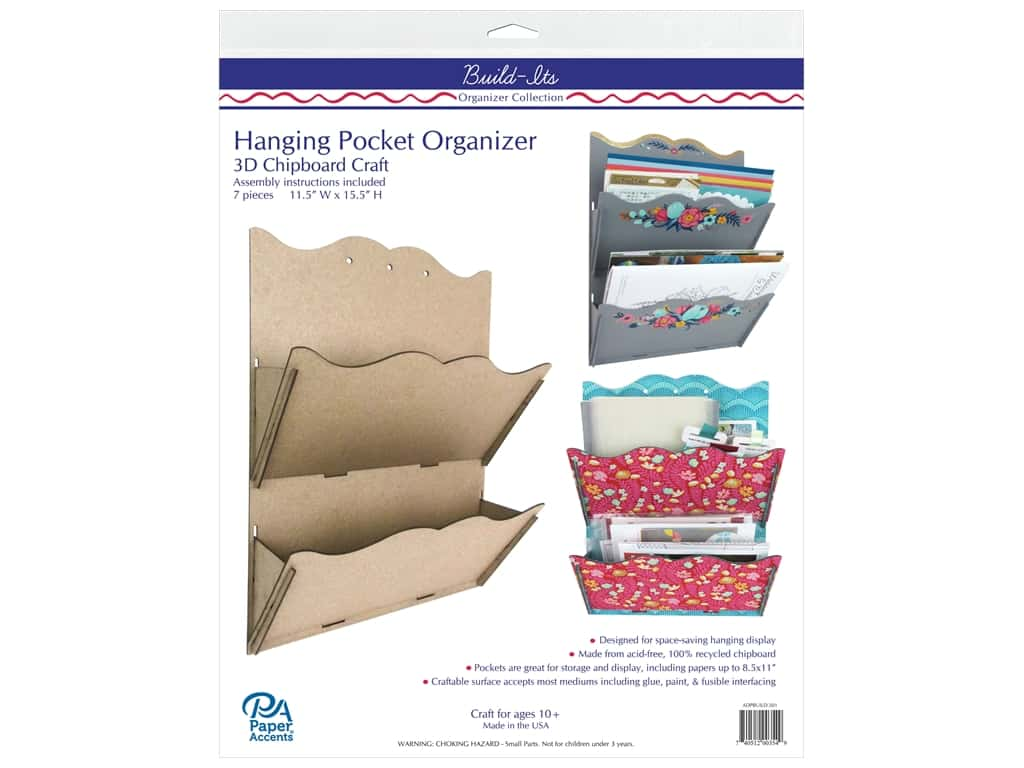 Paper Accents Chipboard Build-Its Hanging 2 Pocket Organizer