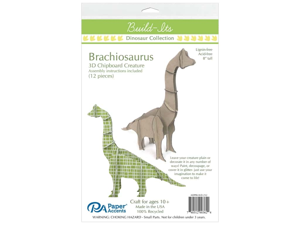 "Paper Accents Build Its Chip Brachiosaurs 8"" Tall"