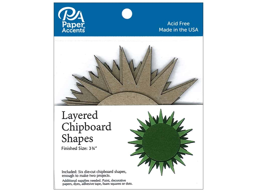 Paper Accents Layered Chipboard Shapes Starburst 6 pc. Natural