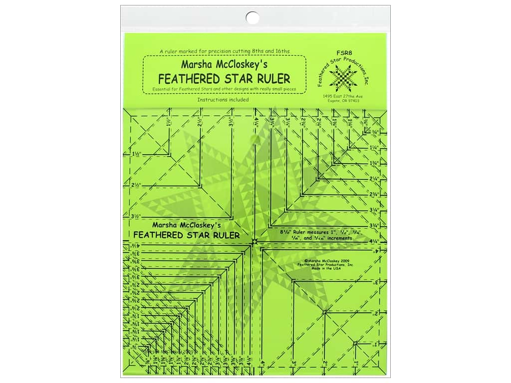 """Feathered Star Ruler 8.5"""" with 8th & 16th Lines"""