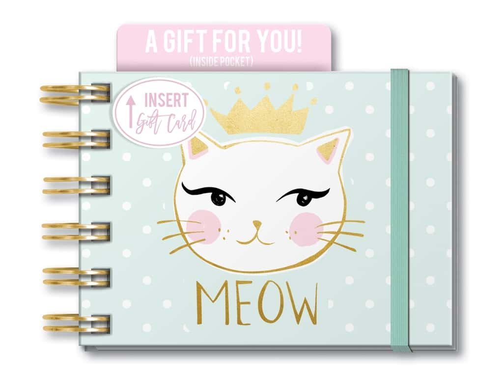 Lady Jayne Note Pad Spiral With Pocket Meow Cat