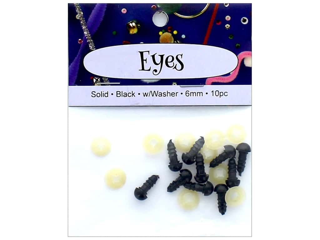 PA Essentials Solid Animal Eyes 6 mm Black 10 pc.