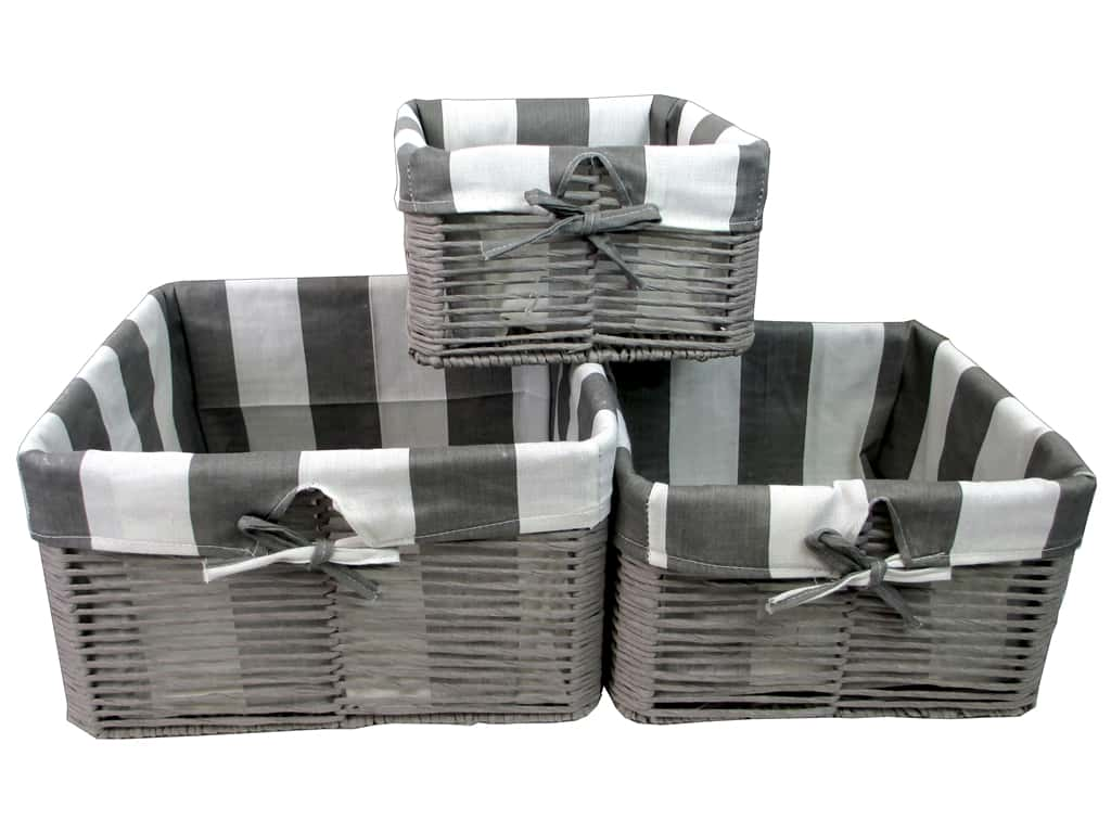 Sierra Pacific Crafts Paper Baskets with Striped Fabric Liner 3 pc. Gray
