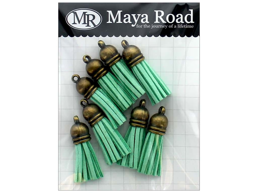Maya Road Products Vintage Tassels Antique Gold Cap Sky Blue