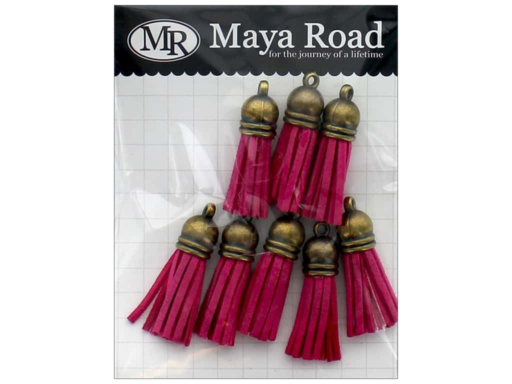 Maya Road Products Vintage Tassels Antique Gold Cap Fuchsia Pink