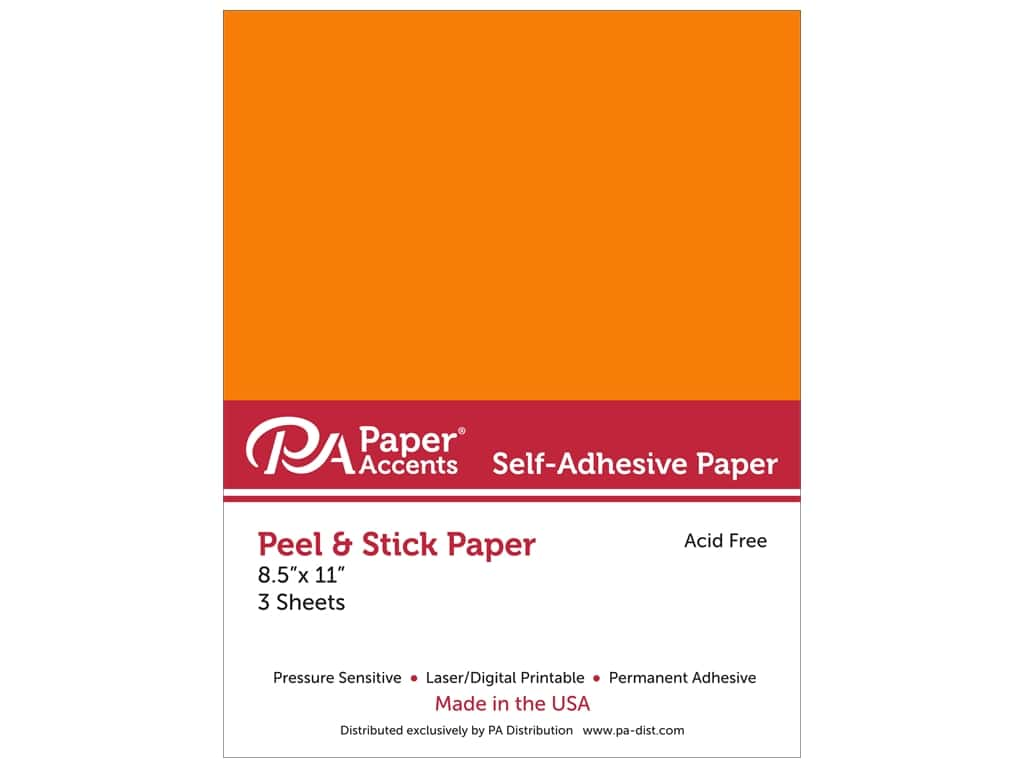 Paper Accents Adhesive Paper 8 1/2 x 11 in. Orange 3 pc.