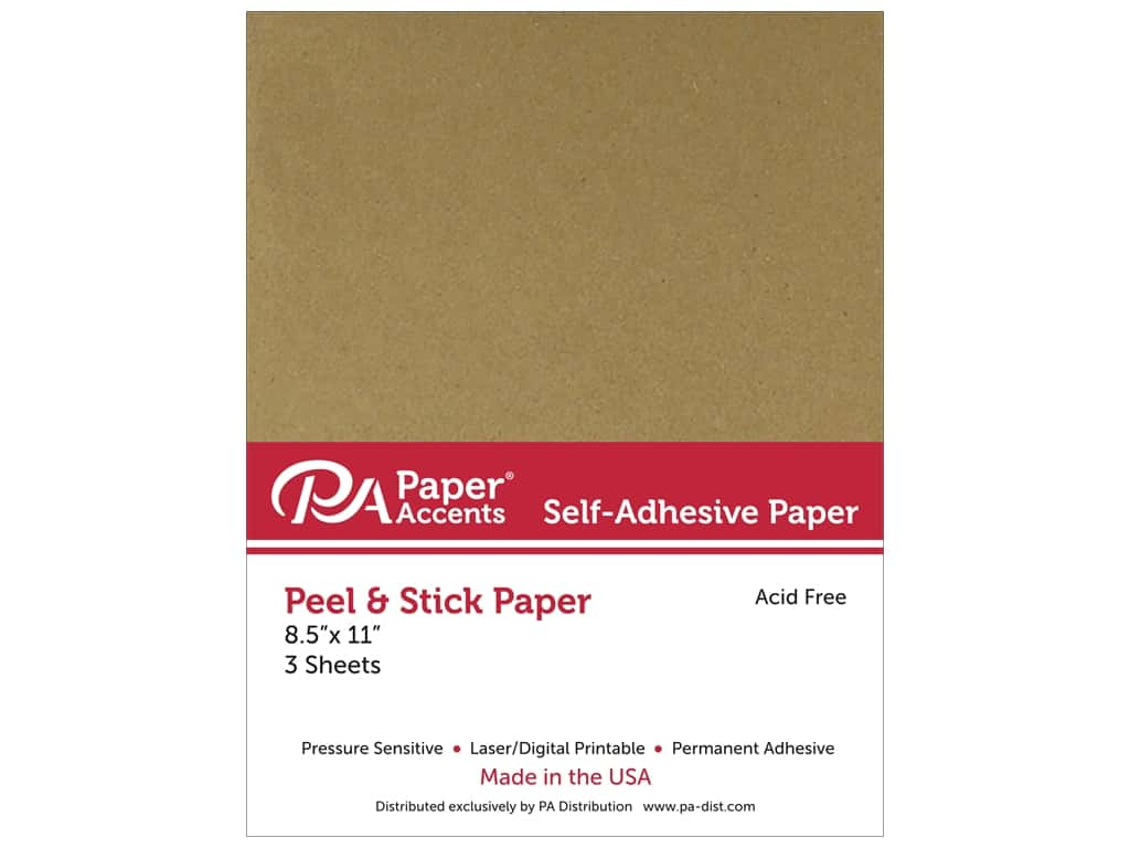 Paper Accents Adhesive Paper 8 1/2 x 11 in. Brown Bag 3 pc.