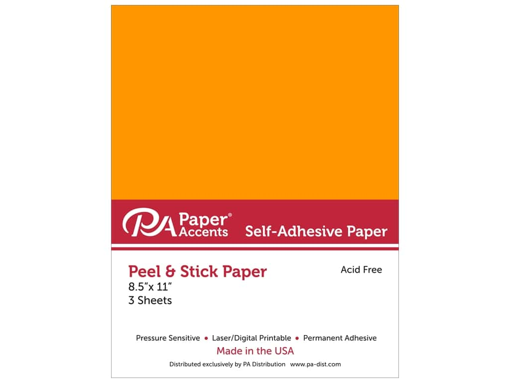 Paper Accents Adhesive Paper 8 1/2 x 11 in. Neon Orange 3 pc.