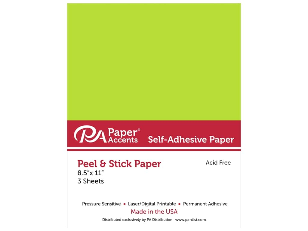 Paper Accents Adhesive Paper 8 1/2 x 11 in. Neon Green 3 pc.