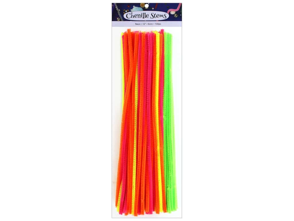 PA Essentials Chenille Stems 6 mm x 12 in. Neon 100 pc.