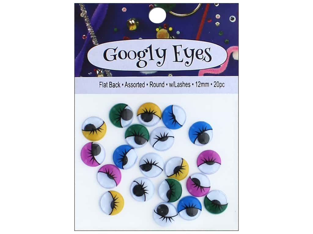 PA Essentials Googly Eyes 1/2 in. Round 20 pc. Assorted with Lashes