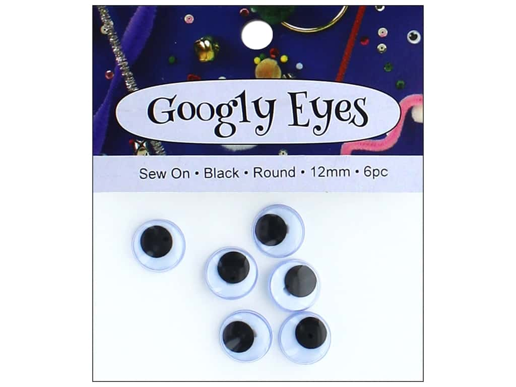PA Essentials Sew On Googly Eyes 1/2 in. Round 6 pc. Black
