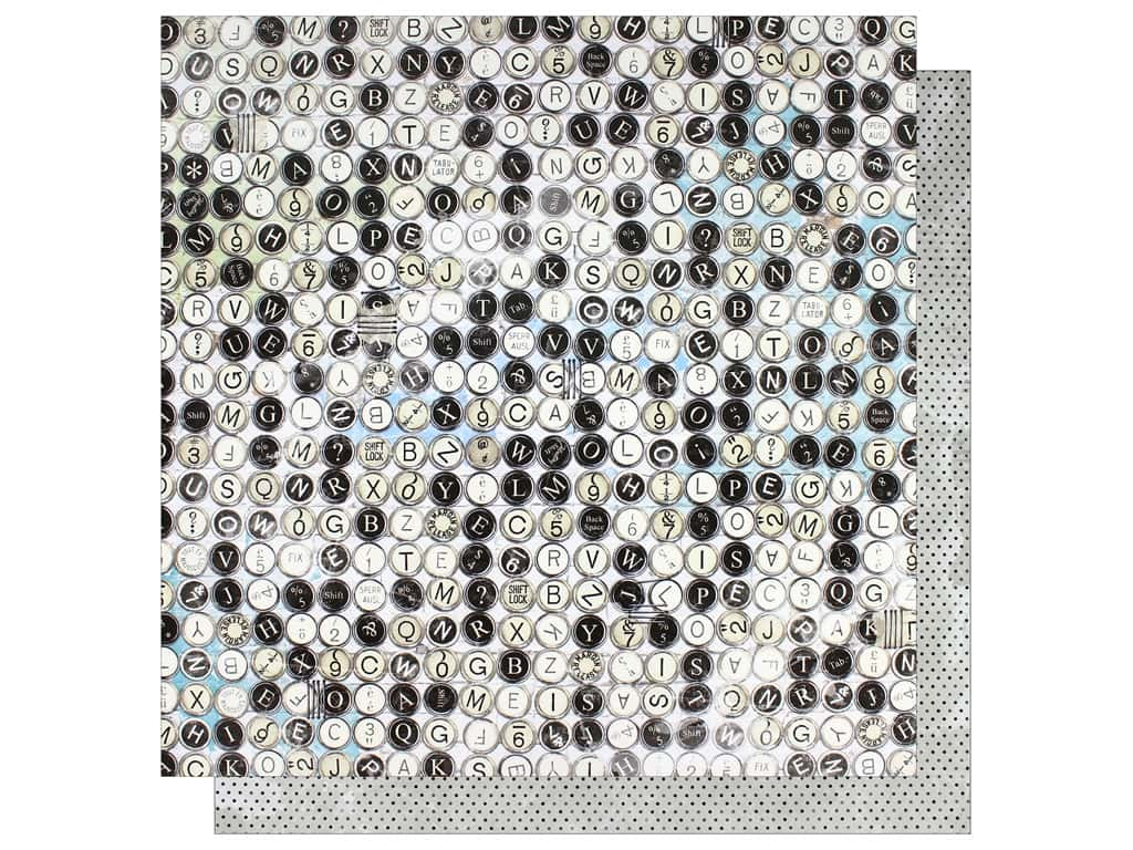 """Bo Bunny Collection Life In Color Paper 12""""x 12"""" Typewriter (25 pieces)"""