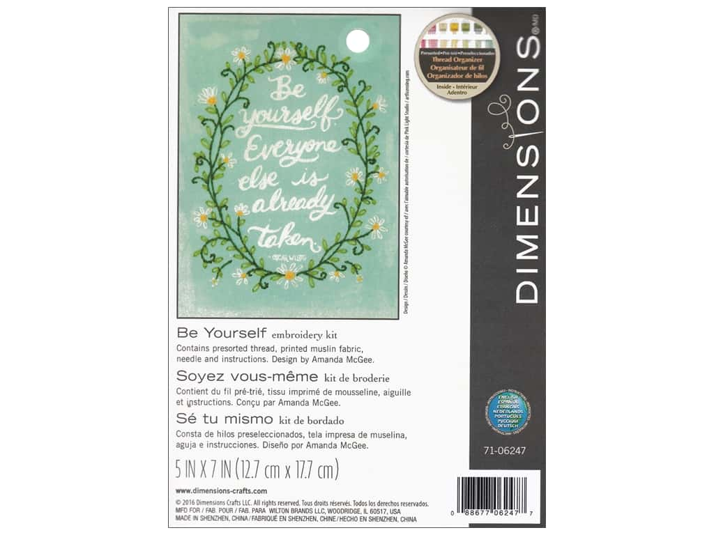 "Dimensions Embroidery Kit 5""x 7"" Be Yourself"