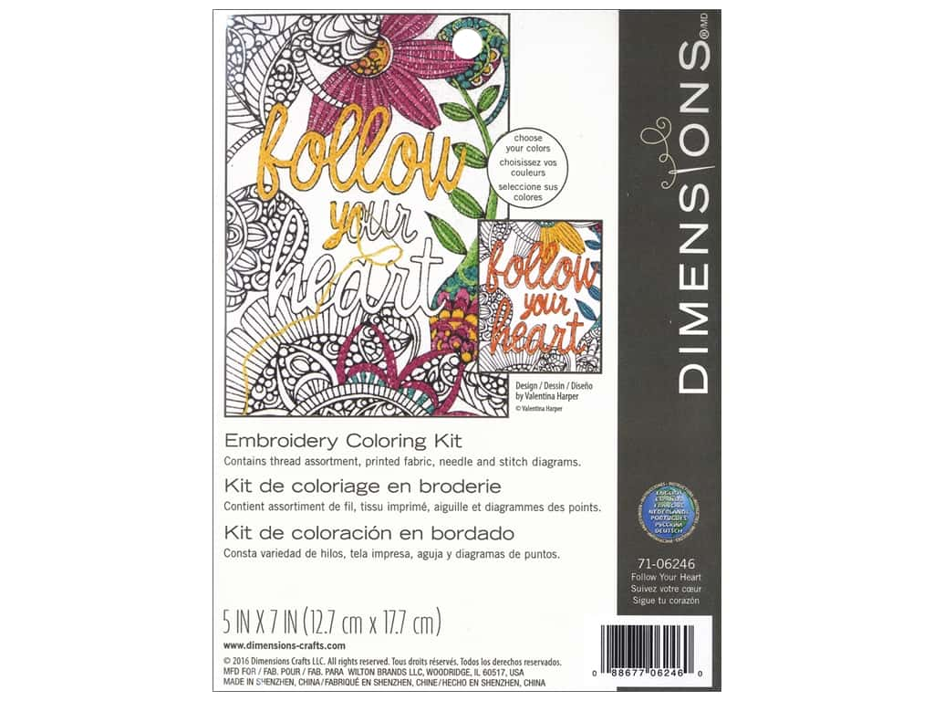 """Dimensions Embroidery Kit 5""""x 7"""" Follow Your Heart"""