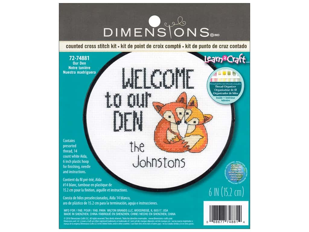 Dimensions Counted Cross Stitch Kit 6 in. Our Den