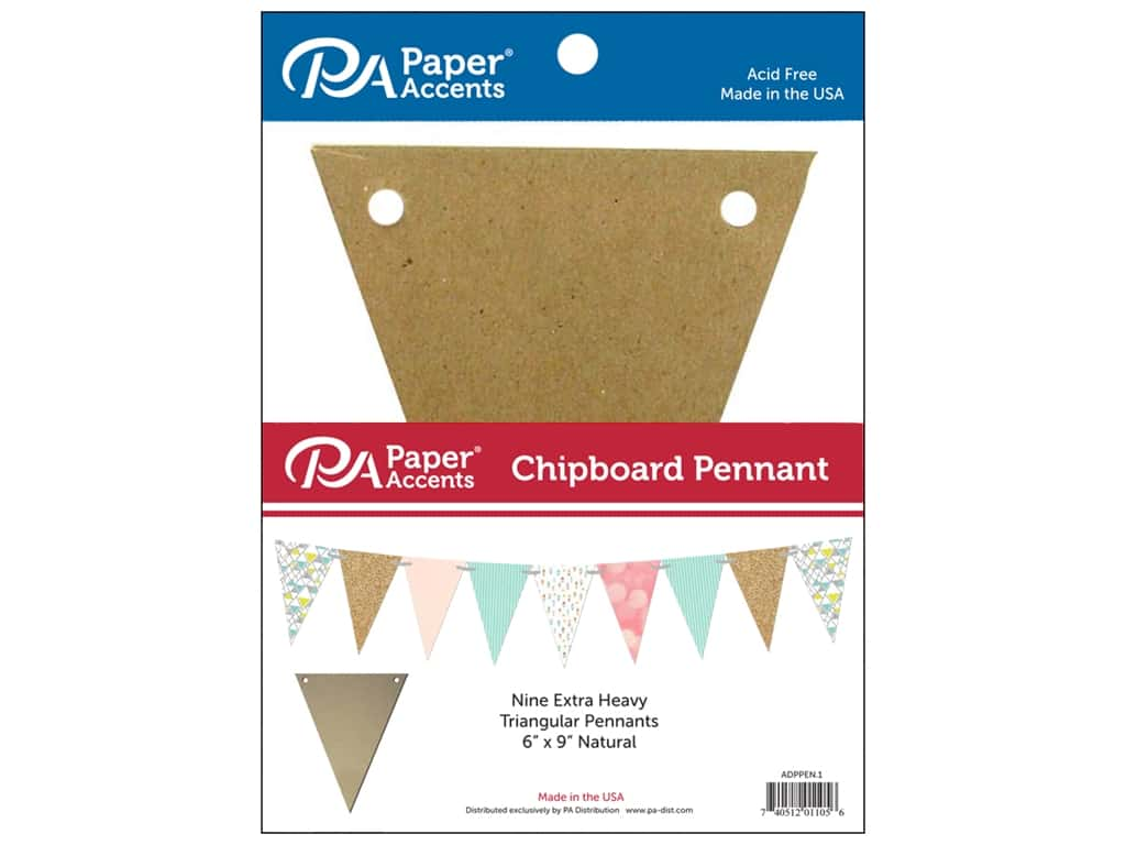 Paper Accents Chipboard Pennants 6 x 9 in. 9 pc. Natural