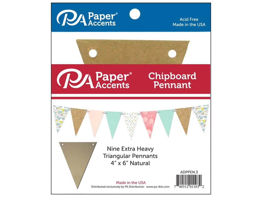 Paper Accents Chipboard Pennants 4 x 6 in. 9 pc. Natural