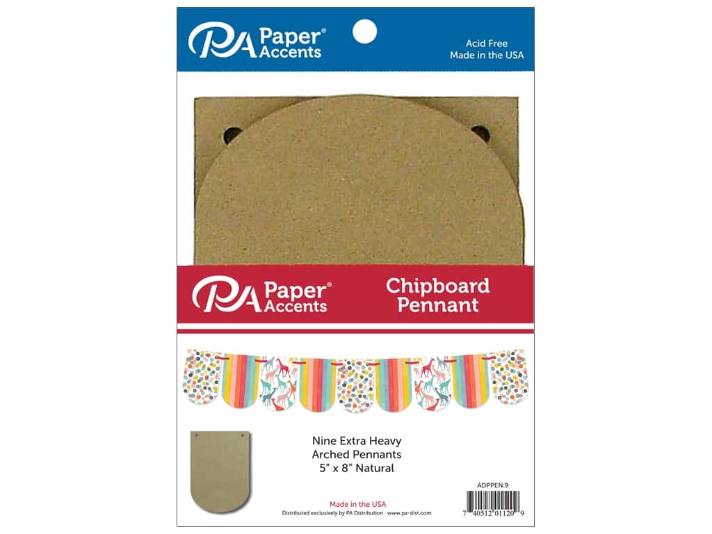 Paper Accents Chipboard Pennants 5 x 9 in. Arched 9 pc. Natural