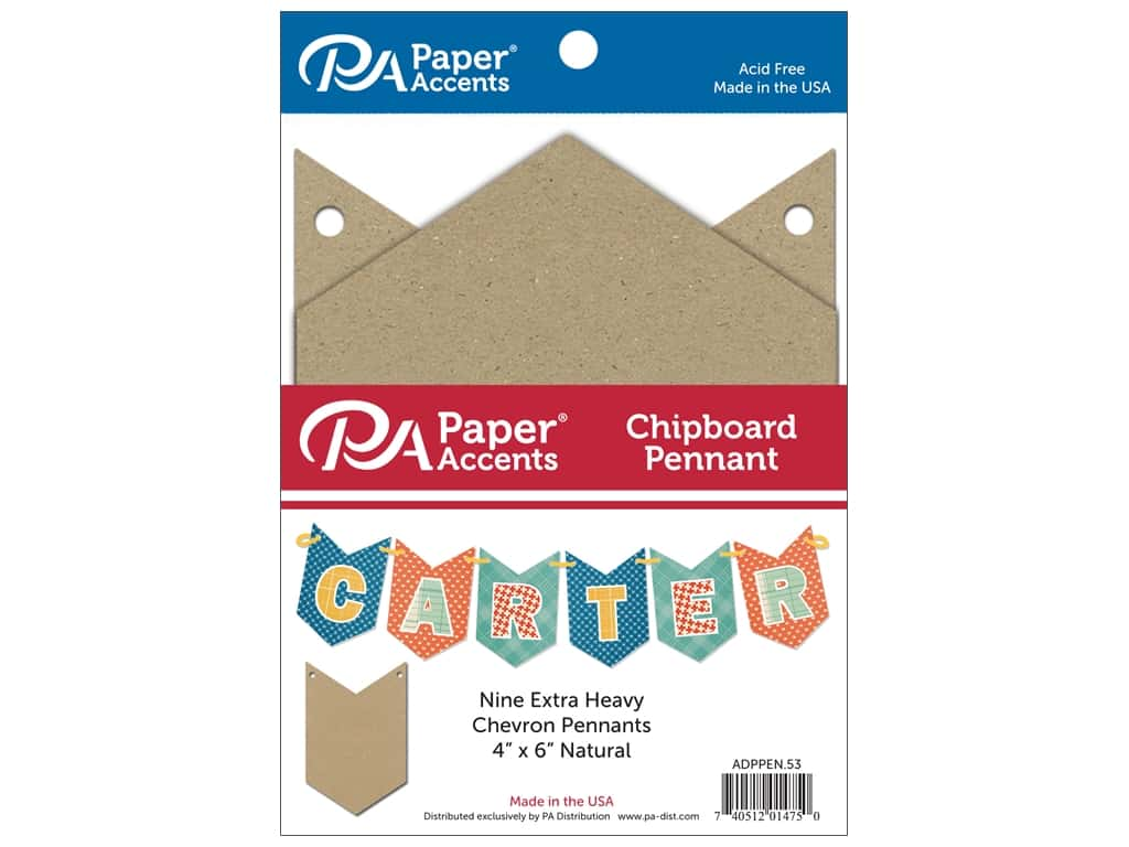 Paper Accents Chipboard Pennants 4 x 6 in. Chevron 9 pc. Natural