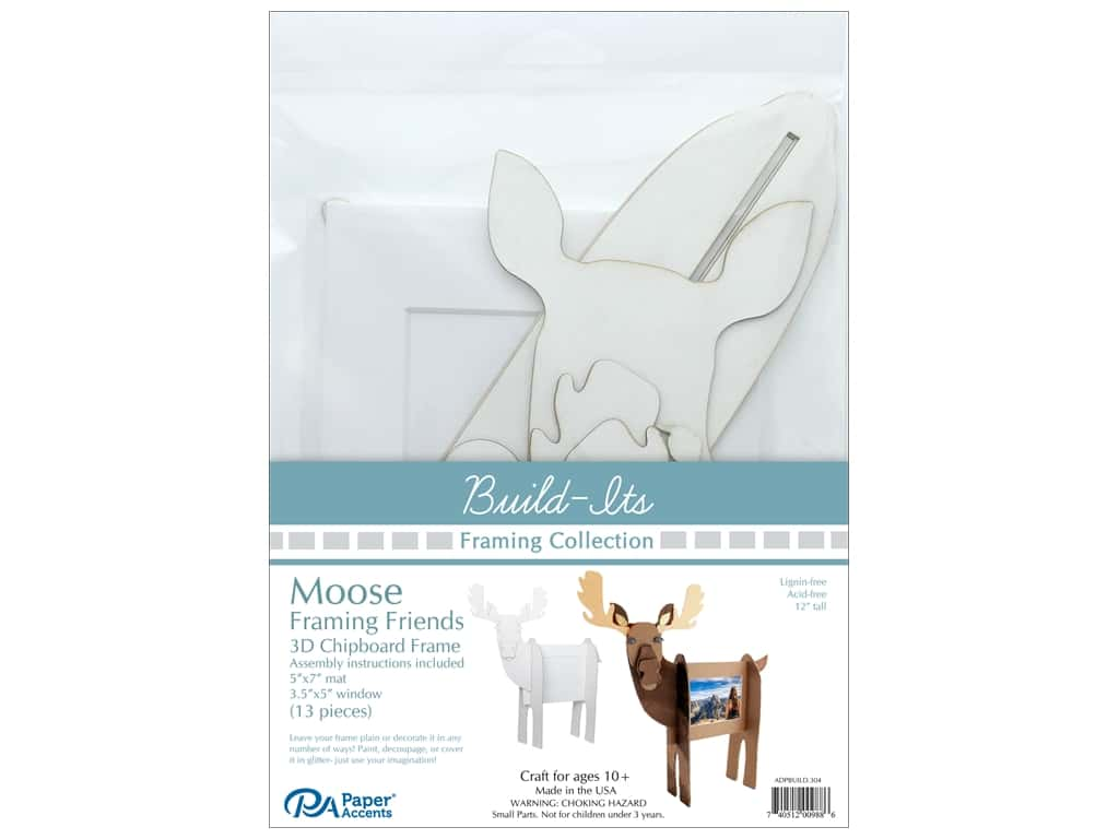 "Paper Accents Build Its Framing Friends 5""x 7"" Moose White"