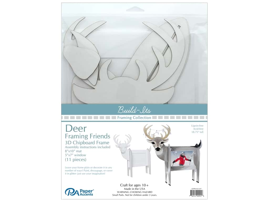 "Paper Accents Build Its Framing Friends 8""x 10"" Deer White"