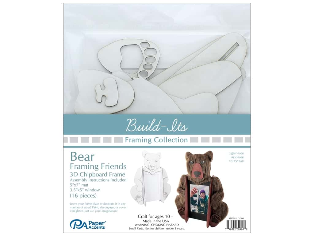 "Paper Accents Build Its Framing Friends 5""x 7"" Bear White"