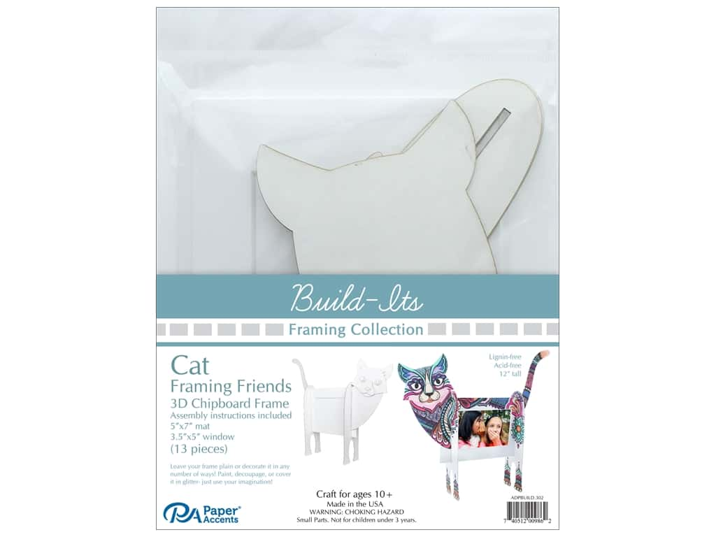 "Paper Accents Build Its Framing Friends 5""x 7"" Cat White"