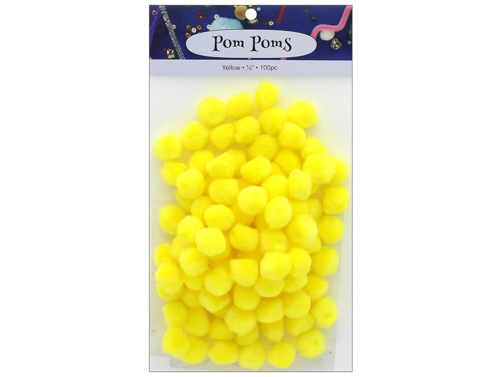 PA Essentials Pom Poms 1/2 in. Yellow 100 pc.