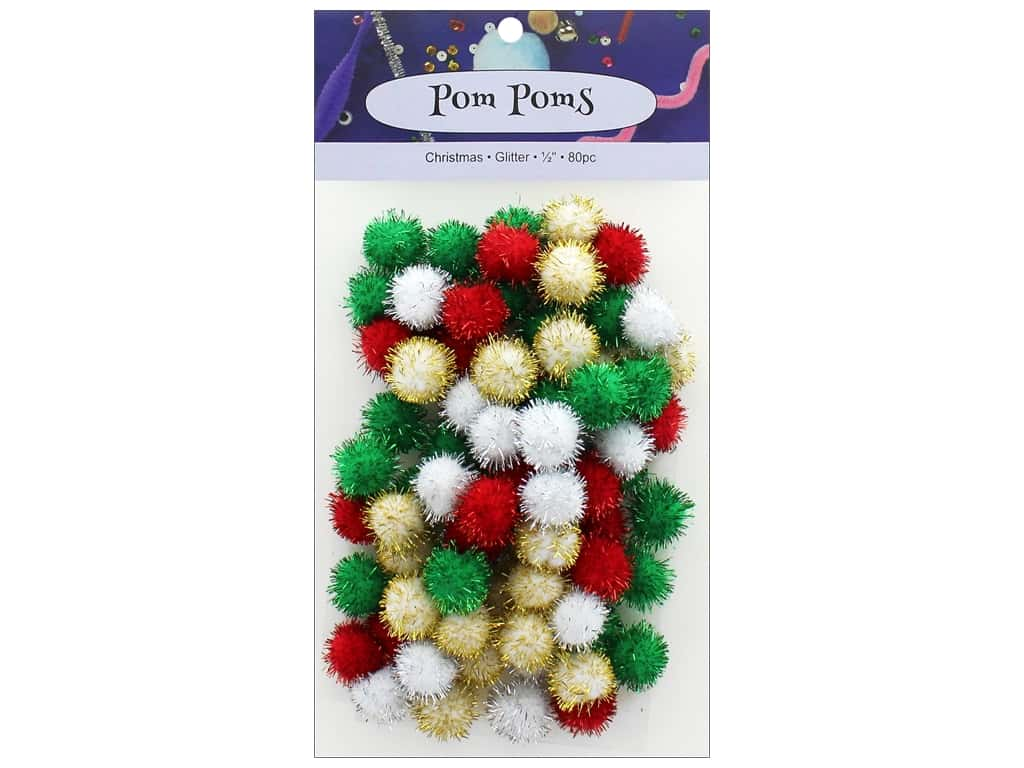 PA Essentials Pom Poms 1/2 in. Glitter Christmas 80 pc.