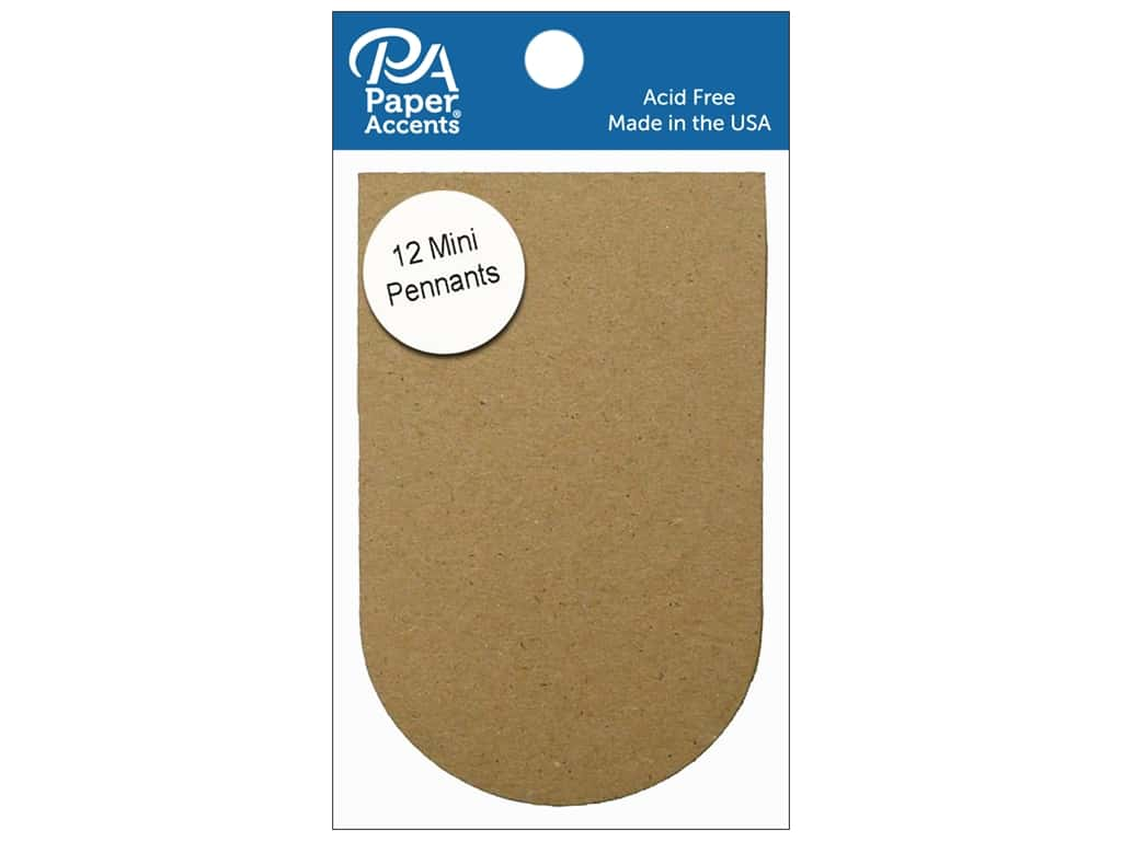 Paper Accents Chipboard Pennants 2 1/2 x 4 in. Mini Arched 12 pc. Natural