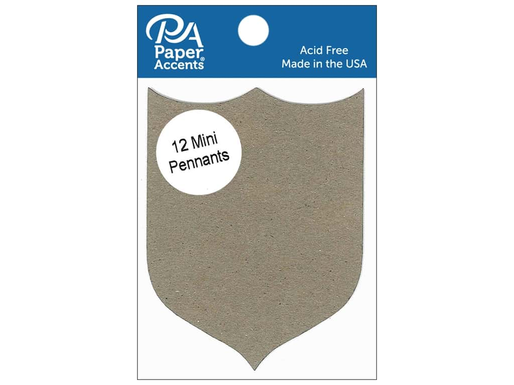 Paper Accents Chipboard Pennants 2 1/2 x 4 in. Mini Shield 12 pc. Natural