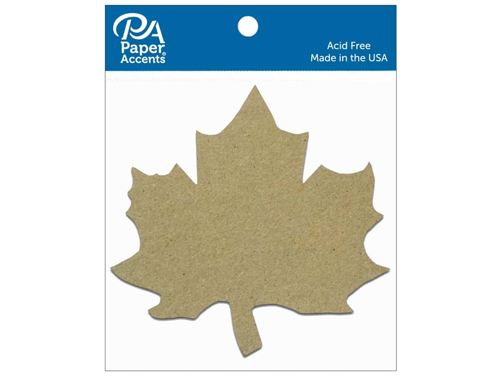 Paper Accents Chipboard Shape Maple Leaf 8 pc. Natural