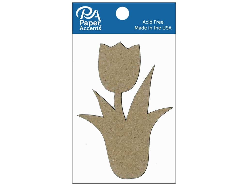 Paper Accents Chipboard Shape Tulip With Stem 8 pc. Natural