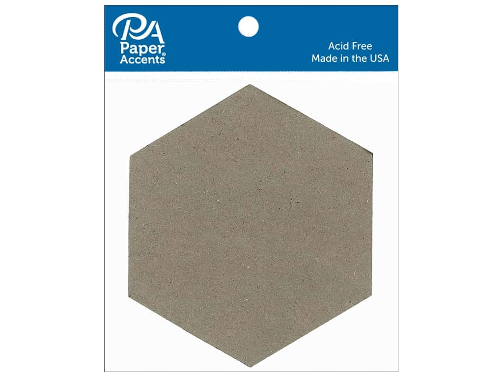 Paper Accents Chipboard Shape 4 in. Hexagon 8 pc. Natural