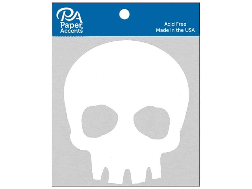Paper Accents Chipboard Shape Skull 8 pc. White