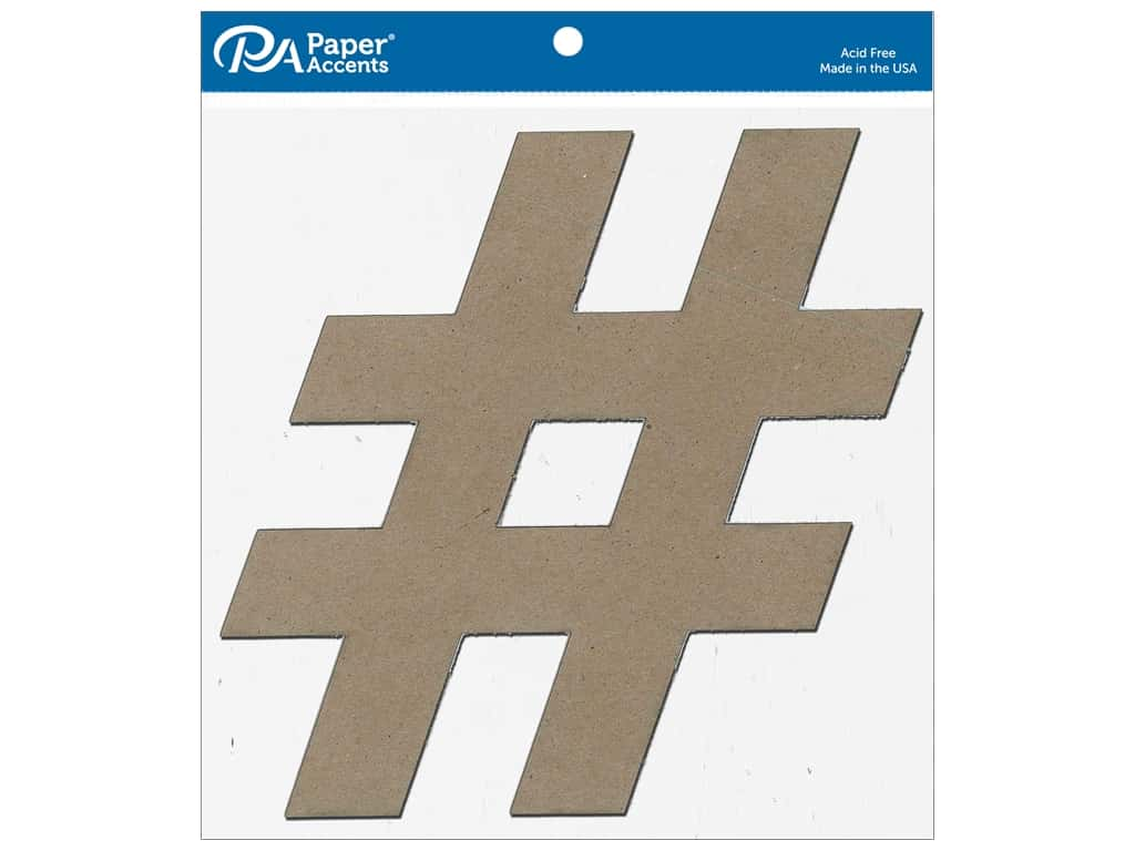 Paper Accents Chipboard Shape 11 in. Hashtag # 2 pc. Natural