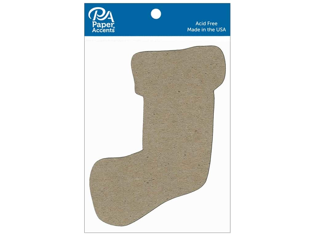 Paper Accents Chipboard Shape Stocking 8 pc. Natural