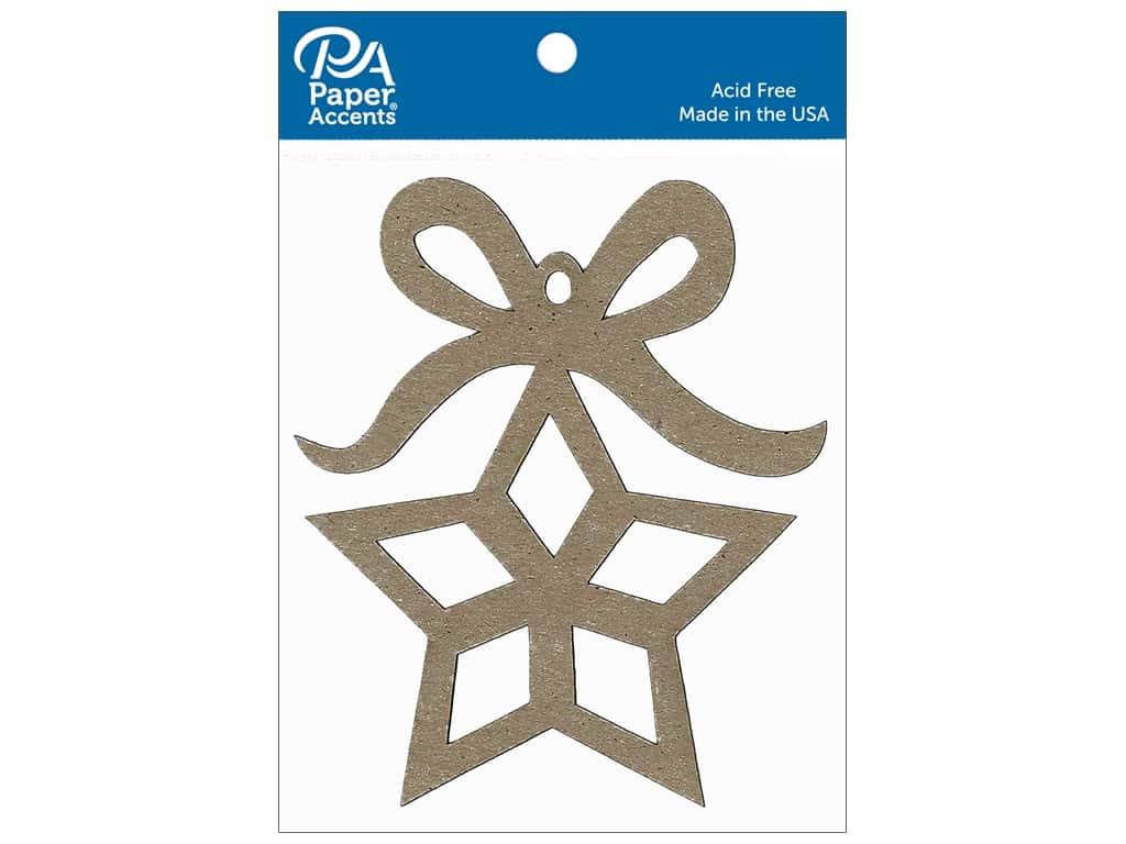 Paper Accents Chipboard Shape Ornament Star with Bow 6 pc. Natural