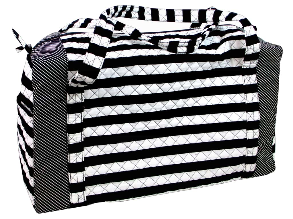 Darice Large Quilted Fabric Duffle Bag - Black & White Stripes
