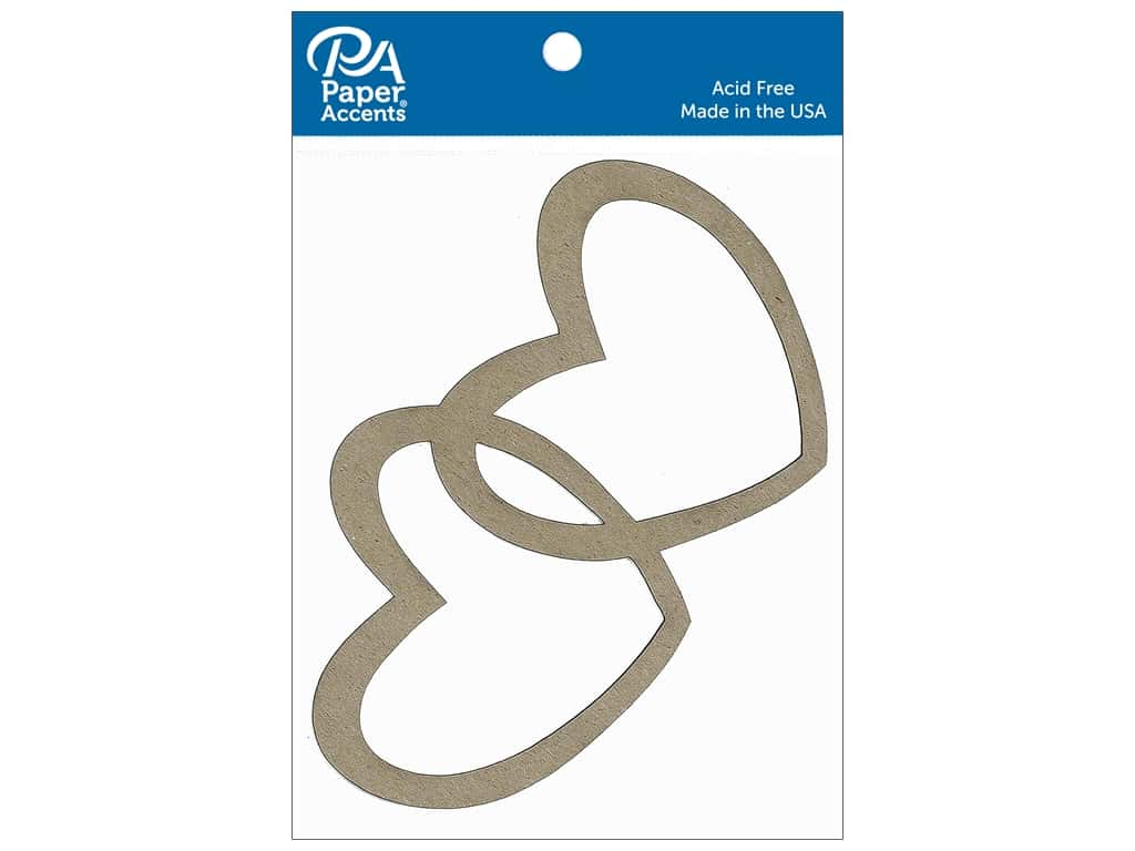 Paper Accents Chipboard Shape Intertwined Hearts 4 pc. Natural